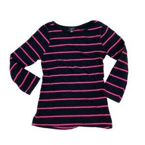 PINK LADIES Hot Pink / Black Boatneck Tee | XL